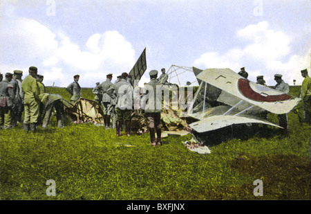 First World War / WWI, Western front, Belgium, shot down French aircraft, Belgium, 1916, Additional-Rights-Clearences - Stock Photo