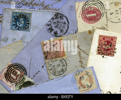 mail / post, stamps, Germany, circa 1865, Additional-Rights-Clearences-NA - Stock Photo