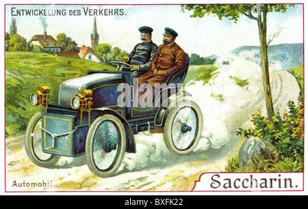 transport / transportation, car, men driving car, advertising card of Saccharin Company, Germany, circa 1903, Additional - Stock Photo