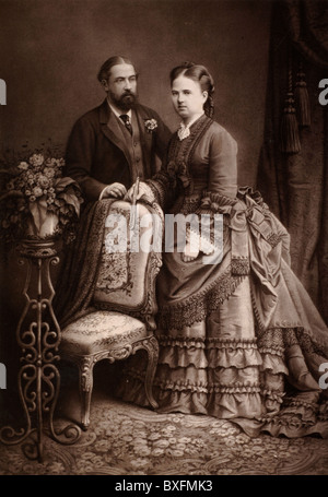 Prince Alfred, Duke of Edinburgh (2nd Son of Queen Victoria), Duke of Saxe-Coburg & Gotha, & Grand Duchess Maria - Stock Photo