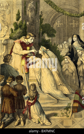 religion, Christianity, memento at the first communion, coloured wood engraving, Germany, circa 1865, Additional - Stock Photo