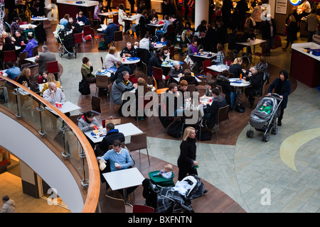 Fast food restaurants and seating area in a modern shopping mall, Argyll Street, Glasgow, Scotland - Stock Photo