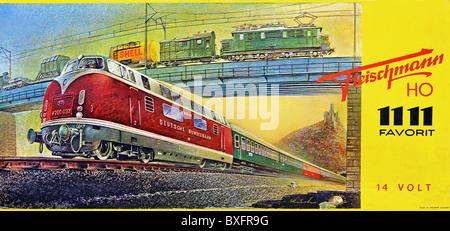 toy, model railway, Fleischmann, original box, electric model railway, track H0, 1111 Favorit, 14 Volt, beginner - Stock Photo