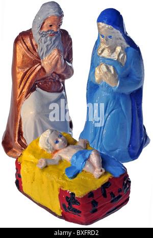 Christmas, crib, Nativity scene with the holy family, Mary, Joseph, baby Jesus, Germany, circa 1984, Additional - Stock Photo