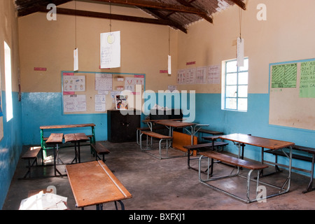 A classroom in a Zambian village school. - Stock Photo