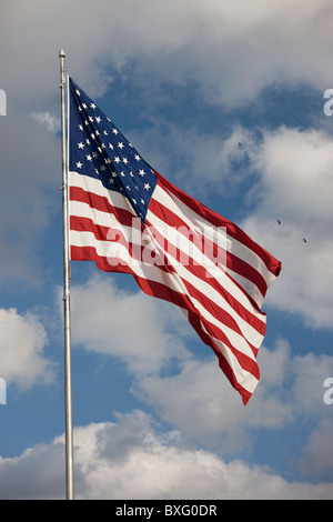 Stars and Stripes American flag on flagpole in Florida, United States of America - Stock Photo