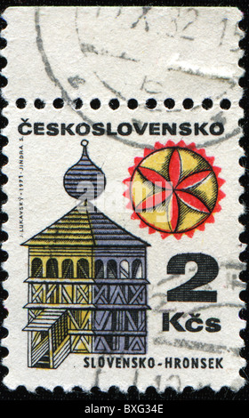 CZECHOSLOVAKIA - CIRCA 1982: A stamp printed in Czechoslovakia shows wooden church from 1726 in Hronsek, Slovakia, - Stock Photo