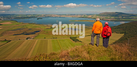 Loch Leven, Bishop Hill and the Lomond Hills from Benarty Hill - Stock Photo