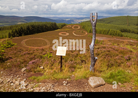 Point of Resolution sculpture, Minchmoor Road, near Traquair - Stock Photo