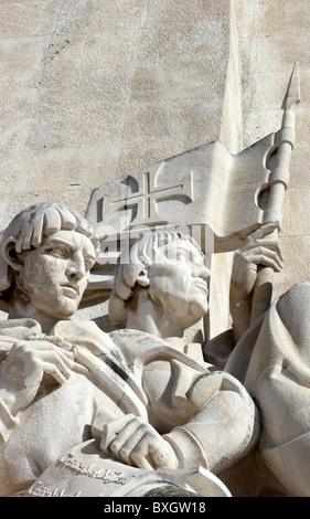 Pero da Covilha and Gomes Eanes de Zurara. Monument to the Discoveries, Belem, Lisbon, Portugal - Stock Photo