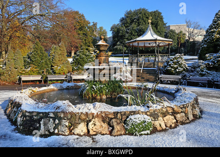The Bandstand and water fountain in Truro's Victoria Gardens - Stock Photo