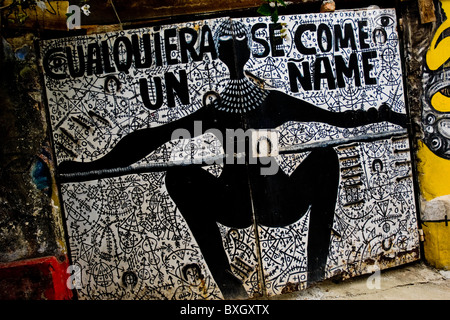 The Palo religious signs and symbols painted on the wall in Callejón de Hamel in Havana, Cuba. - Stock Photo