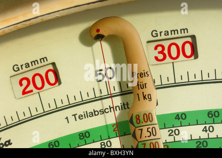 household, kitchen and kitchenware, scales, Bizerba scales, detail, Germany, circa 1951, Additional-Rights-Clearences - Stock Photo