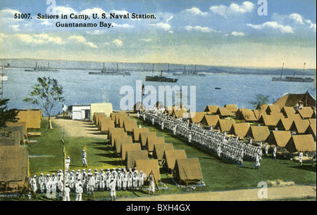 geography / travel, Cuba, Guantanamo Bay, American naval base, sailor, sailors in Camp, historical picture postcard, - Stock Photo