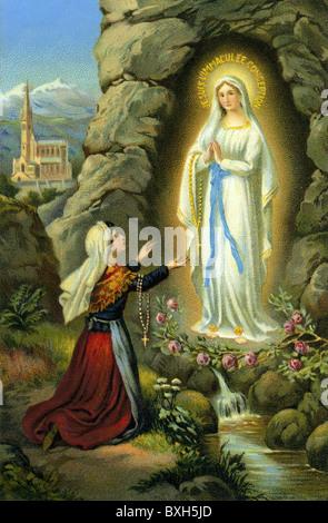 religion, Christianity, Marian apparition, Lourdes, 1858, Bernadette Soubirous, religious mural, France, circa 1890, - Stock Photo