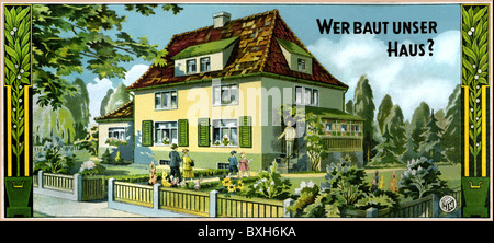 games, parlour game, 'Wer baut unser Haus' (Who is building our home', cover, Germany, circa 1930, Additional-Rights - Stock Photo