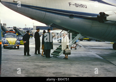 transport / transportation, aviation, aircraft, arrival, departure, airport, Air France, Germany, circa 1960, Additional - Stock Photo