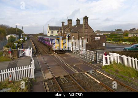 Manned level crossing, Drigg, Cumbria, England - Stock Photo
