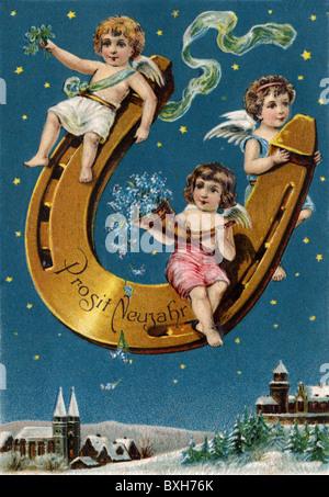 symbol / emblem / icon, good-luck charm, horseshoes, Prosit Neujahr (Happy New Year), angel on horseshoe, Germany, - Stock Photo
