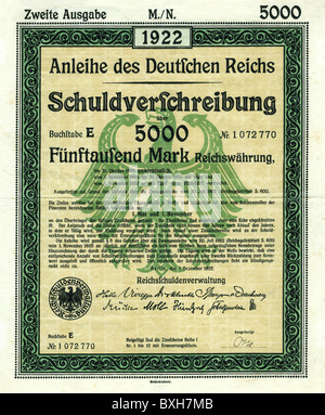 money / finance, banking / lending, government bond of the German Reich, 5000 Mark, Germany, 1922, Additional-Rights - Stock Photo