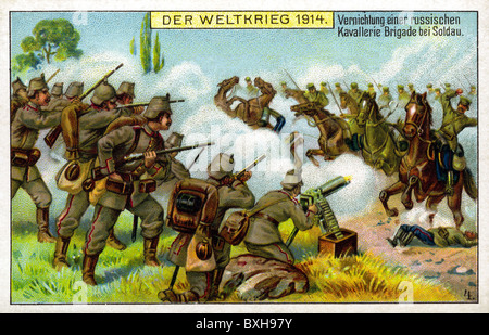 world war / WW I, German soldiers shooting at Russian cavalry, 1914, Additional-Rights-Clearences-NA - Stock Photo