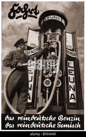 transport / transportation, car, petrol station, filling station attendant with petrol pump, Leuna, Germany, 1936, - Stock Photo