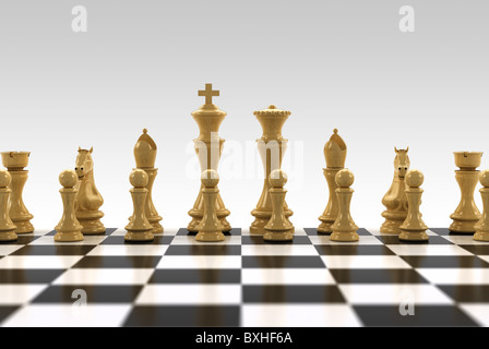 White chess pieces on chess board with very shallow depth of field - only the row with the king is in focus