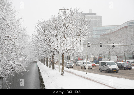 Winter traffic in snow storm, The Hague, Netherlands, Holland, Europe - Stock Photo
