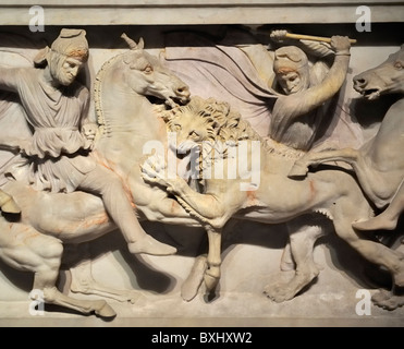 Alexander Sarcophagus (c. 325-311 BC), Lion Hunt, Archaeology Museum, Istanbul, Turkey 100919_36489 - Stock Photo