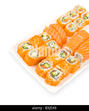 salmon sushi and california and philadelphia rolls, clipping path - Stock Photo