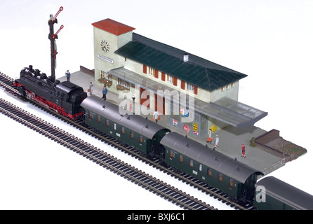 toys, toy train, train stops at station, Germany, 1960s, , Additional-Rights-Clearences-NA - Stock Photo