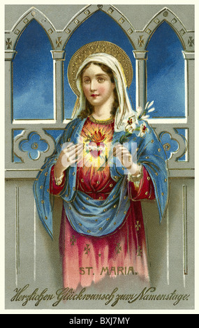 religion, Christianity, saint Mary, holy heart, congratulations, name day, Germany, 1913, Additional-Rights-Clearences - Stock Photo