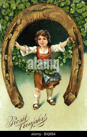 symbol / emblem / icon, New Year, girl with horseshoe, lithograph, picture postcard, Germany, circa 1905, Additional - Stock Photo