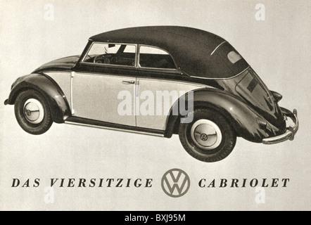 transport / transportation, cars, vehicle variants, Volkswagen, VW Beetle, cabriolet, Osnabrück, Germany, 1949, - Stock Photo