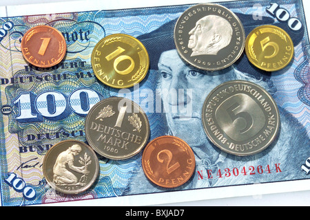 money / finance, bank notes, Germany, 100 German Mark, minted: 1950 - 2001, year of mintage: 1980, historic, historical, - Stock Photo