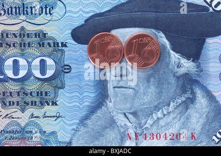 money / finance, bank notes, Germany, 100 German Mark, printed 1970 - 1989, 2001, historic, historical, banknote, - Stock Photo