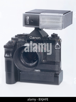 photography, cameras, Canon reflex camera, single lense reflex camera, SLR camera, reflex cameras, F 1, Blitz Metz - Stock Photo