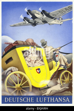 advertising, transport, advertising post card of the German Lufthansa, mail coach and airplane, Germany, circa 1940, - Stock Photo