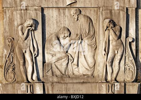 Relief sculpture on the memorial gravestone of Andrew Skene in the New Calton Burial Ground in Edinburgh, Scotland, - Stock Photo