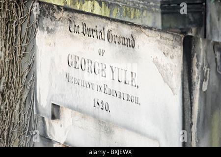 The Burial Ground of George Yule, an Edinburgh Merchant, in the New Calton Burial Ground, Edinburgh, Scotland, UK, - Stock Photo