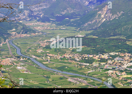 aerial photo of the river Adige and Trentino Rovereto city and its villages - Stock Photo