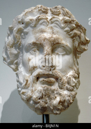 Marble head of a god, probably Zeus. 3rd or 2nd century B.C. Metropolitan Museum of Art. New York. United States. - Stock Photo