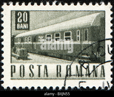 ROMANIA - CIRCA 1967: A stamp printed in Romania shows train, circa 1967 - Stock Photo