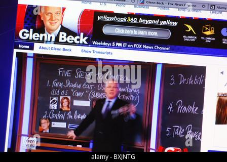 Live streaming video on American conservative commentator Glenn Beck's website - Stock Photo