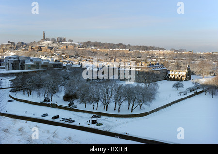 View from Arthur's Seat Edinburgh looking onto Holyrood Palace,The Scottish Parliament and Calton Hill - Stock Photo