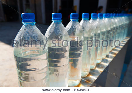 Bottles of water in a row - Stock Photo