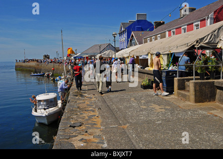aberaeron seafood festival on the quayside west wales - Stock Photo