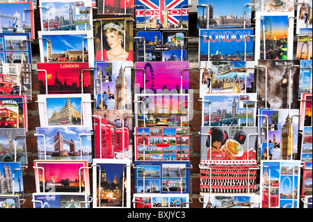 Picture postcards of famous tourist sites in London, England, UK - Stock Photo