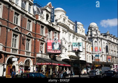 Theatreland on Shaftesbury Avenue, London, England, Britain, UK - Stock Photo
