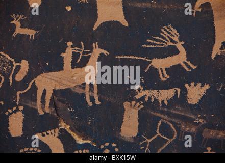 Closeup of petroglyphs at Newspaper Rock State Historic Monument, Southeast Utah, USA. - Stock Photo